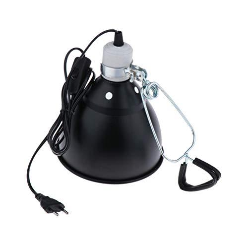 Reptilienlicht Lampenschirm, 300W Keramik Wärme UVA / UVB Reptilien Heizlampenständer Haustier Glühbirnenhalter Lampenschirm Emitter Lampe für Schildkröten, Schlangen, Frösche, Reptilien, Schwarz