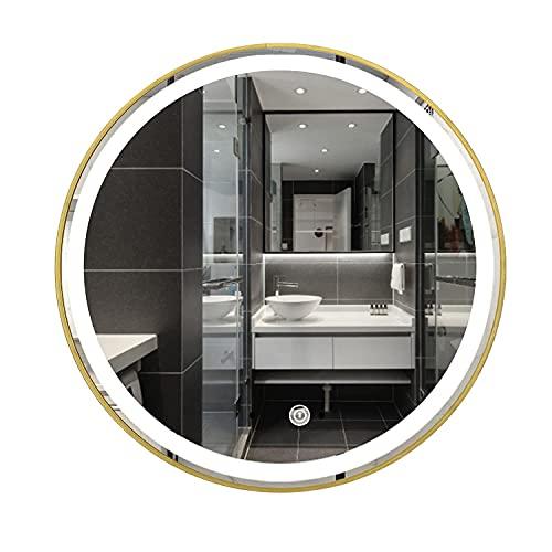 LZQHGJ YAWEN DIRIGIÓ Espejo de baño Iluminado, con 3 Colores claros, Interruptor táctil Incorporado y inducción del Cuerpo Humano, Marco de Aluminio, Espejo de Maquillaje montado en la Pared