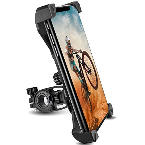 Bicycle Phone Mount Holder - Anti-Shake Mountain Bike Cell Phone Holder - Motorcycle Mount Compatible with iPhone SE/11 Pro Max/11 Pro/11/XS/XS Max/XR/10/8/7/6 - Samsung S8/S9/S10/S20 Plus/Note