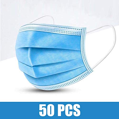 LinZX, Atemschutzmaske mit Filter, Staubschutz-Filter, 3 Stufen, mit Ohrschlaufen, aus Vlies-Stoff, 50 Stück