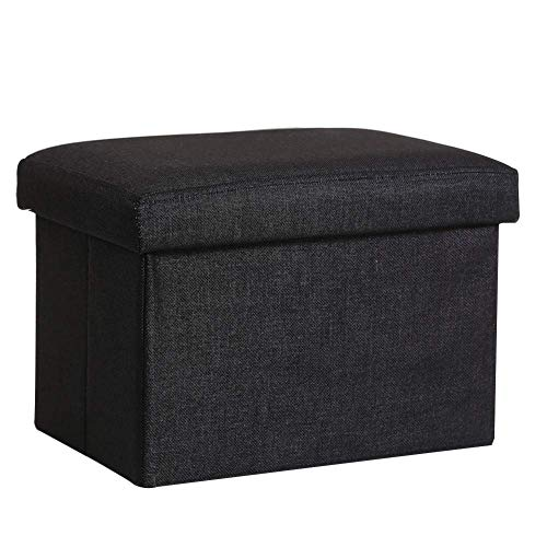 XIAO WEI Folding Ottoman Bench Rectangular Padded Linen Footstool with Removable Lid Storage Box for Living Room - Black
