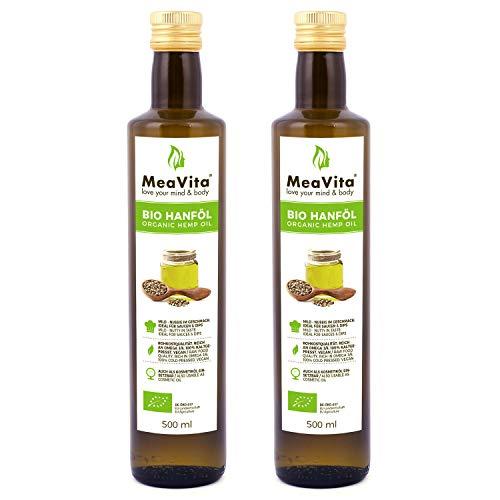 MeaVita Bio Hanföl, 100{81b12d97aa9efaae7768dd11a4bea65206baa979d8869d12b811feb9c6b10f97} rein & kaltgepresst, (2x 500ml) Hanfsamenöl hoher Anteil an Omega 3 & 6 Fettsäuren