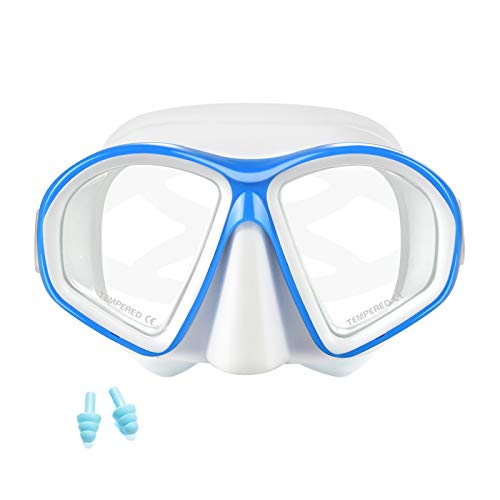 Supertrip Kids Snorkel Mask-Scuba Diving Goggles Anti-Leak Snorkeling Freediving Mask Easybreath Tempered Glass Professional Swimming Gear for Youth Boys and Girls (White Blue)