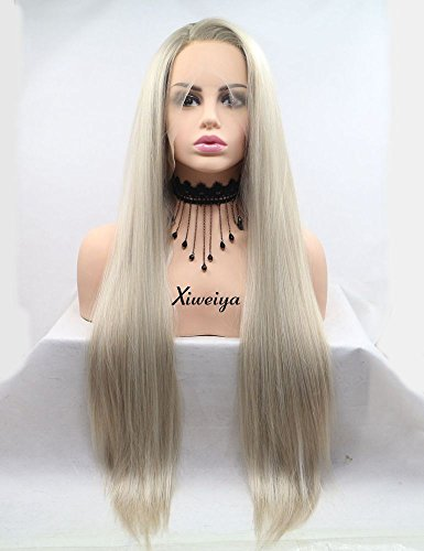 Xiweiya Ombre Blonde Lace Front Wig Brown Root Mixed Gold Hair Summer Hairstyle Long Silky Straight Side Parting Synthetic Lace Front Wigs Girl Fashion Cosplay Wigs Party Makeup Soft Glueless Wigs