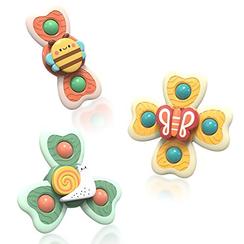 HISKRAD Suction Cup Spinner Toys, 3PCS Cartoon Suction Cup Baby Top Toys, Baby Bath Toys, Toddler High Chair Toys