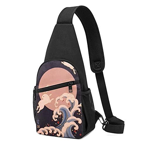 Bunny Anime - Bolso de hombro (cuerpo cruzado, bolsa de hombro), diseño casual de moda, para el pecho, bolsa de hombro, unisex, regalo para la escuela, escalada de montaña, viajes