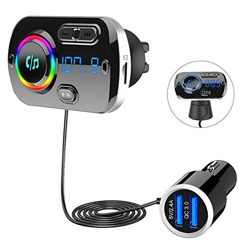 SONRU Newest FM Transmitter Bluetooth 5.0, Bluetooth Car Radio Transmitter...