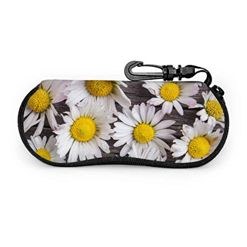 Daisies On Old Wood Table Sunglasses Cases Sunglasses Pouch For Women Light Portable Neoprene Zipper Soft Case Child Eyeglass Case