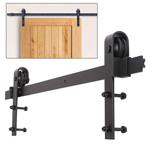 Hengda 6FT (183cm) Schiebetürbeschlag set Schiebetürsystem Schiebetürbeschlag Laufschiene Karbonstahl für Schiebetüren Innentüren 35 bis 45 mm Dicke