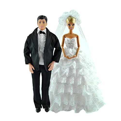 Yiding Handmade White Wedding Gown Dress and Formal Suit Clothes Outfit for Barbie Ken Dolls by Yiding