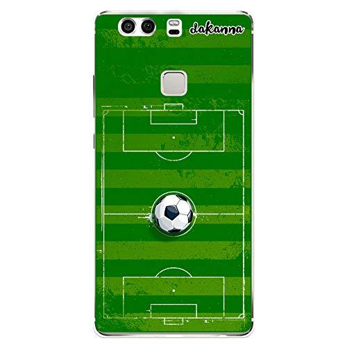 dakanna Custodia per Huawei P9 Plus | Campo di Calcio e Pallone | Cover in Gel di Silicone TPU Morbido di Alta qualità Trasparente