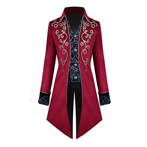 Steampunk Gothic Victorian Jacket Vintage Tailcoat Medieval Frock Coat Renaissance Costume for Men(Red, 3X-Large)