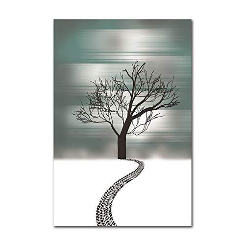 Preisvergleich Produktbild WSWWYNordic abstrakte Dekoration Kunst Poster Moderne literarische Baum Silhouette malerei für Wohnzimmer Wand leinwand Bild A 70x100 cm Kein Rahmen