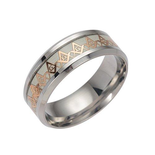 Freemason masónico luminoso anillos para hombres mujeres acero inoxidable Biker...