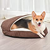 YINN Deluxe Dog Cave,Large Pet Nest Dog Bed Warm Cashmere Cuddly Dog Cushion Sofa Washable Detachable Kennel for Big Dog Cat Puppy Rabbit-M:89x89x10cm-Brown