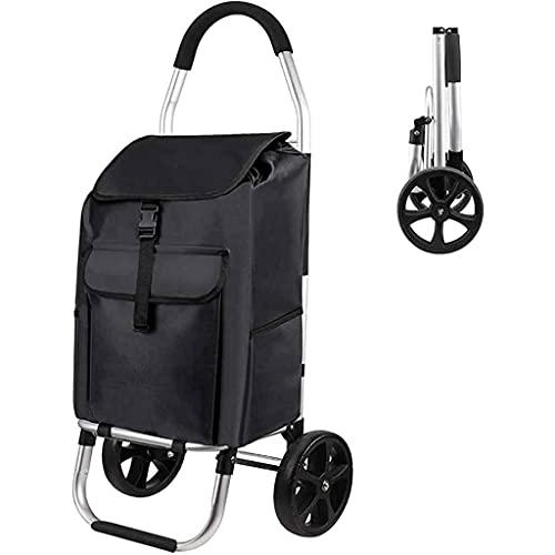 Carro de Compras, Carrito de Compras Plegable sobre Ruedas con Bolsa Desmontable y diseño Plegable, Capacidad máxima 30kg, 45L, Empuje/tirón (Negro