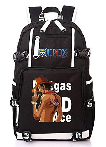 Cosstars One Piece Portgas D Ace Anime Backpack Mochila Escolar Estudiante Bolso de Escuela Mochila para Portátil Negro-3