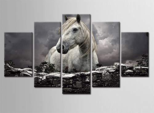 WJDJT 5 Stuks Art Print Schilderij Canvas, Canvas Prints Animal Horse Pictures Schilderijen Op Doek Muur Kunst Voor Woonkamer Slaapkamer Huisdecoratie 150X80Cm