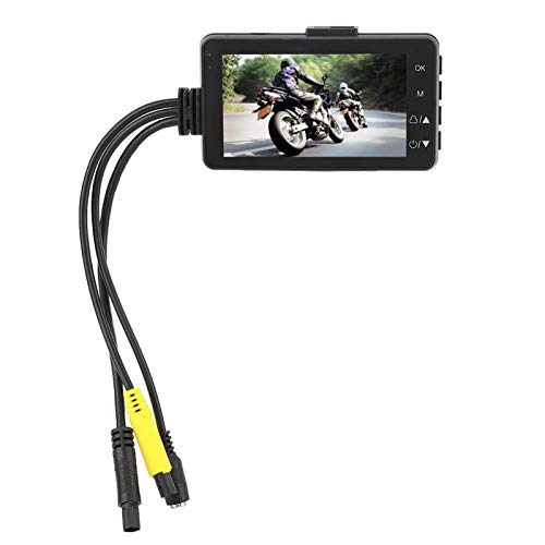 Ymiko Cámara Dual para Motocicleta, cámara Dual con Pantalla LCD de 1080P y 3 Pulgadas para Registrador Oculto de Datos de Motocicletas