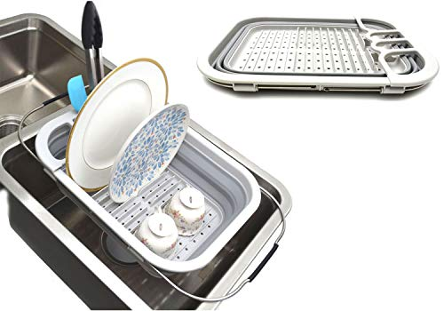 Samamart Uitbreidbaar en inklapbaar afdruiprek met afdruipvlak, opvouwbaar wasrek, draagbare servies-organizer, ruimtebesparend keukenrek