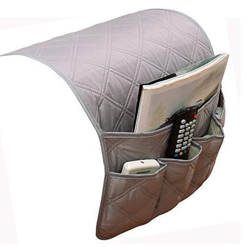 JINTN - Organizador para reposabrazos de sofá o sillón, con bolsillos para colocar el mando a distancia, el teléfono o libros y mantener todo organizado gris