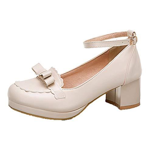 Mujeres Bombas Estilo Dulce Bowknot Correa de Tobillo Lolita Zapatos Primavera otoño Boca Baja Punta Redonda PU Cuero Mary Jane Zapatos