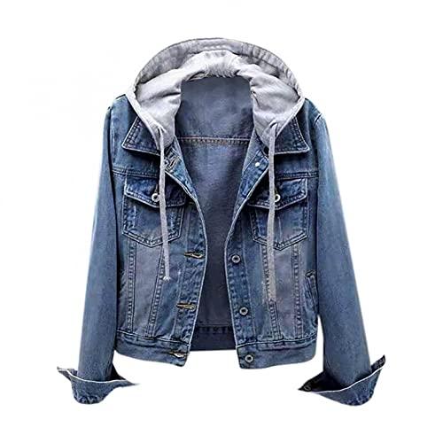 Lomelomme Damen Jeansjacke Kurz Hellblau Slim Fit Leichte Sommerjacke Übergangsjacke Boyfriend Outdoor Vintage Jacke Outwear Herbst und Winter