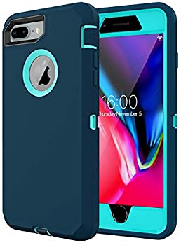 Diverbox For iPhone 8 plus Case iPhone 7 plus Case Built-in screen protector [Shockproof] [Dropproof] [Dust-Proof],Heavy Duty Protection Phone Case Cover for Apple iPhone 8 plus & 7 Plus  Turquoise
