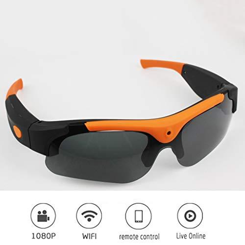 Wlehome WiFi Video Sonnenbrille, 1080P Video-Recorder-Kamera-Gläser mit UV-Schutz polarisierte Linse, Unisex-Design für Sport, Reiten, Angeln, Fahren, Motorrad,Orange