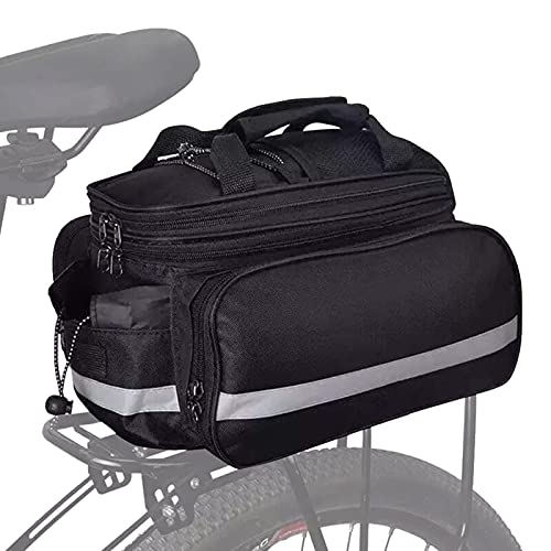 Bolsa impermeable para asiento trasero de bicicleta de montaña/carretera, alforja para cuadro bicicleta eléctrica 25L, bolsa de maletero de ciclo extensible con cubierta de lluvia(negro completo)