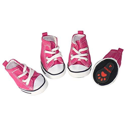 GLE2016 Haustier-Schuhe, für Welpen, Sport, Denim, lässiger Stil, rutschfeste Stiefel, Sneaker, Stiefeletten, 4 Stück (#3, Pink)