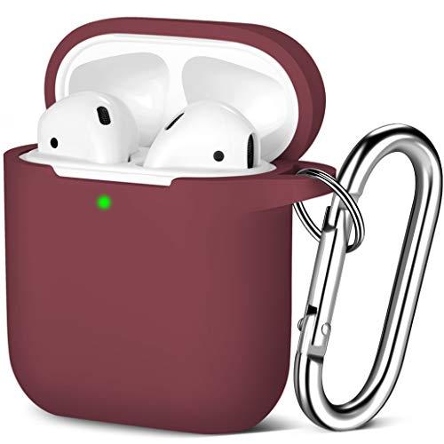 Maledan Kompatibel mit AirPods Hülle AirPods Case Apple Airpods 2 & 1, Voller Schutz Silikon Schutzhülle (Front LED Sichtbar) mit karabiner, Wein
