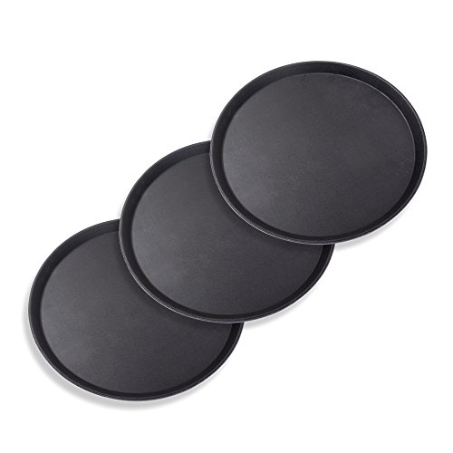 Schramm® 3 Piezas Gastro Tray 35x2cm Redondo Negro 3-Pack con
