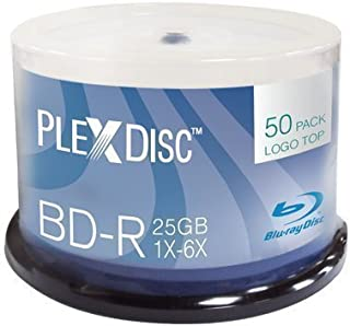 PlexDisc 633-814 25 GB 6x Blu-ray Logo Top Single Layer Recordable Disc BD-R 50-Disc Spindle