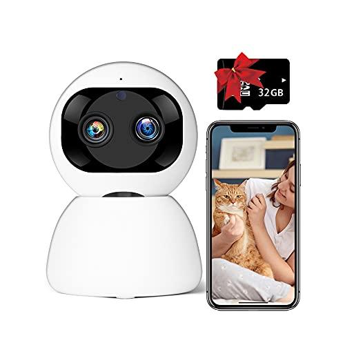 Caméra de Surveillance WiFi Interieur, Bextgoo Caméras de sécurité, Lentille Double, 1080P, Pan/Tilt/Zoom, Caméra IP avec détection de Mouvement, Suivi Automatique (La Carte 32G Est Incluse)