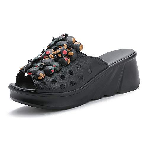 WYCcaseA Sandalias de Mujer Plataformas con Elegantes Zapatos Sandalias de Cuero Punta Abierta Zapatillas de Flores Vintage Zapatillas Chanclas Romanas de Mujer Hecho A Mano Los Zapatos,Negro,38