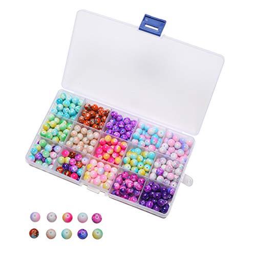 N/A. 450 cuentas redondas de cristal degradado mezclado de 8 mm para joyería, manualidades, pulseras, collares, accesorios con caja de almacenamiento de plástico