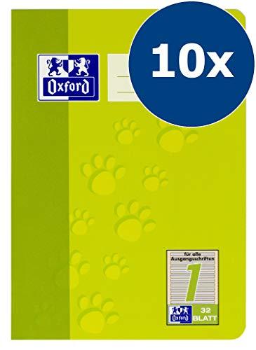 Oxford Schule Schulheft A5, liniert, Lineatur 1, 32 Blatt, hellgrün, 10er Pack