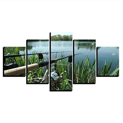 Xzfddn Lienzo arte carteles impresiones pintura lago modular marco de pared 5 paneles caña de pescar imágenes para sala de estar decoración del hogar