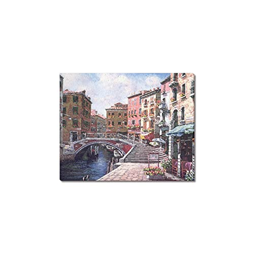 """Creative Modern Art Print Watercolor Painting Venice Italy Color Rich Retro Style town Canvas Print Wall Art 10"""" x 8"""" Inch, Stretched and Framed Home Decor Wall Living room Office Canvas Art Wall"""