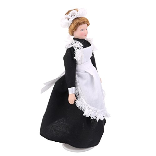 Dollhouse Bambole Di Porcellana In Miniatura Vittoriano Servitore W Bianco Espositore
