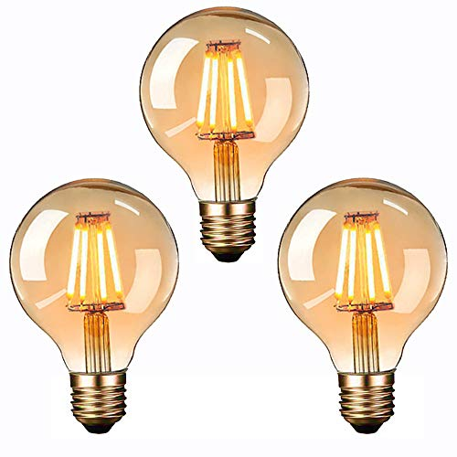 Edison Vintage Glühbirne, Massway LED Vintage Glühbirne E27 G80 4W Warmweiss Antike Filament LED Glühlampe, Ideal für Nostalgie und Retro Beleuchtung im Haus Café Bar - 3 Stück