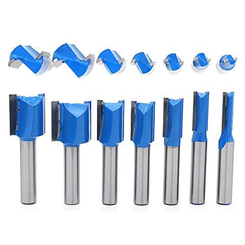DingGreat 7 Stück 8mm Schaft Nutfräser, 6mm 8mm 10mm 12mm 14mm 18mm 20mm Fräser Router Bits, Holz Gerade Router Bit Set, Hartmetall Fräsen Werkzeug Set