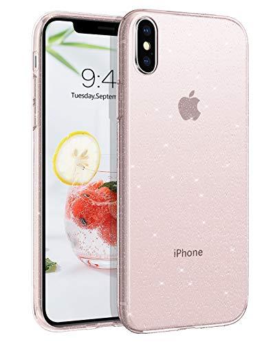 BENTOBEN iPhone XS Hülle Handyhülle Glitzer, iPhone XS Hülle Slim Glitzer Anti Gelb Silikon Bumper Cover Ultra dünn Hülle für iPhone X/iPhone XS 5.8 Zoll Bling Transparent Rosa