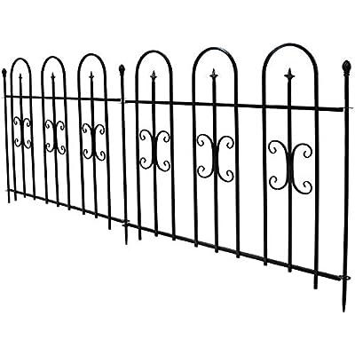 Sunnydaze 2-Piece Decorative Finial Garden Landscape Metal Border Fence, Black, 38 Inches x 49 Inches Per Panel, 8 Feet Overall