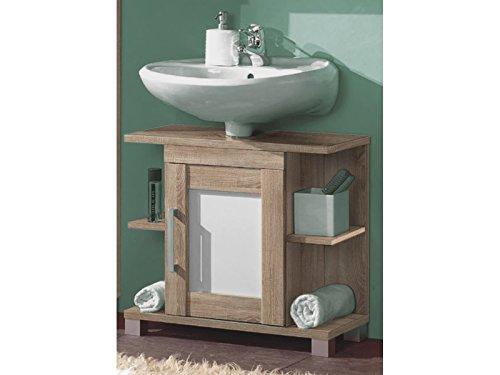 Waschbeckenunterschrank Badschrank Unterschrank Schrank Badmöbel Paignton I Sonoma-Eiche/Weiß