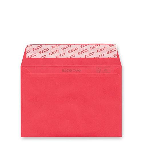 250 rote Umschläge DIN C6, gerade Klappe haftklebend, Elco Color, Papier: 100 g/qm FSC mix