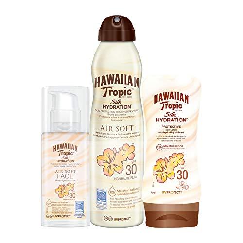 Hawaiian Tropic Silk Hydration - Loción Protective SPF 30 + Spray Bruma Air Soft SPF 30 + Loción Air Soft Face SPF 30 - Pack 3 unidades