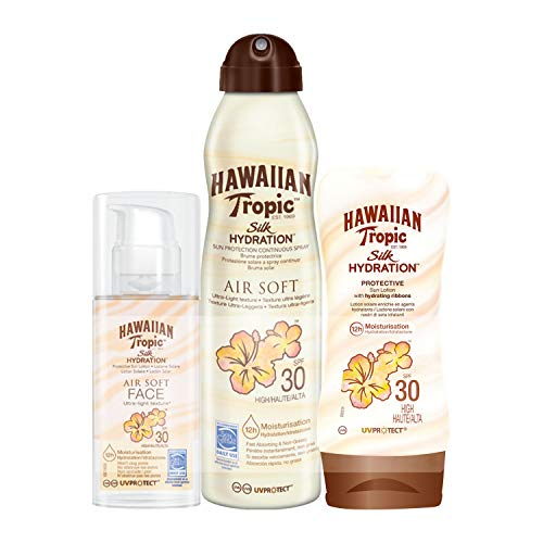 Hawaiian Tropic Silk Hydration Air Soft Sun Spray Lotion Sonnenspray LSF 30 + Silk Hydration Protective Sun Lotion Sonnencreme LSF 30 + Silk Hydration Sun Lotion Air Soft Face Sonnencreme LSF 30