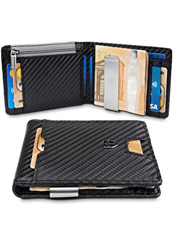 𝗖𝗢𝗠𝗣𝗔𝗖𝗧𝗢 𝗬 𝗙𝗨𝗡𝗖𝗜𝗢𝗡𝗔𝗟 - A pesar de su pequeño tamaño, la cartera de alta calidad tiene compartimentos para 8 tarjetas. El compartimento exterior deslizante permite un acceso rápido a las tarjeta. 𝗣𝗜𝗡𝗭𝗔 𝗣𝗔𝗥𝗔 𝗕𝗜𝗟𝗟𝗘𝗧𝗘𝗦 𝗜𝗡𝗧𝗘𝗚𝗥𝗔𝗗𝗔 - La pinza esta firmement...